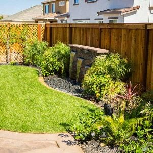 Backyard hardscape with fountain