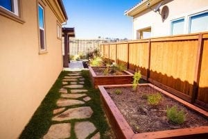 landscape design with raised plant boxes